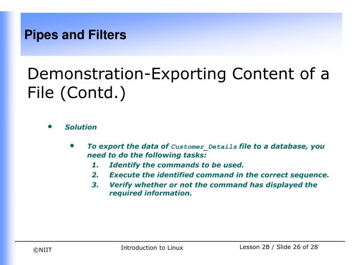 Demonstration-Exporting Content of a File (Contd.)