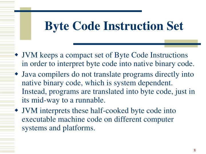 Byte Code Instruction Set