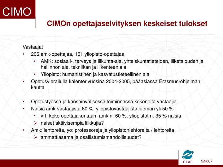 CIMOn opettajaselvityksen keskeiset tulokset
