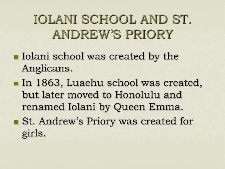 IOLANI SCHOOL AND ST. ANDREW'S PRIORY