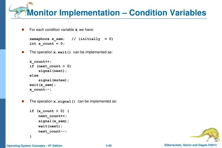 Monitor Implementation – Condition Variables