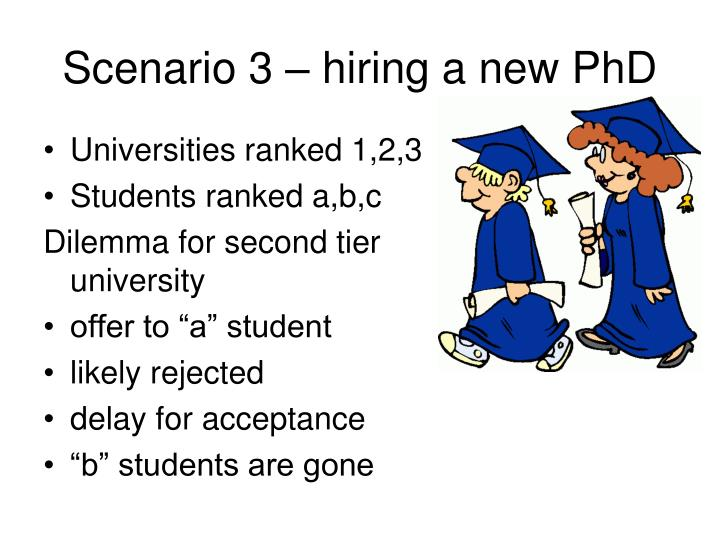 Scenario 3 – hiring a new PhD