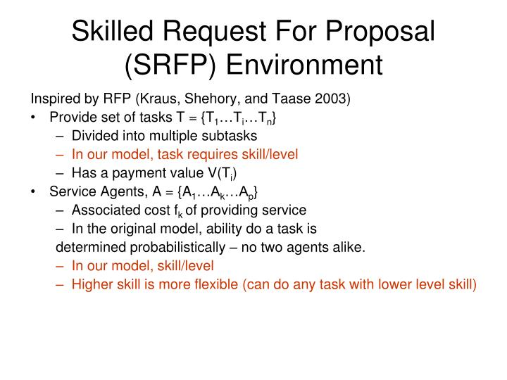 Skilled Request For Proposal (SRFP) Environment