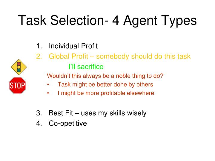 Task Selection- 4 Agent Types