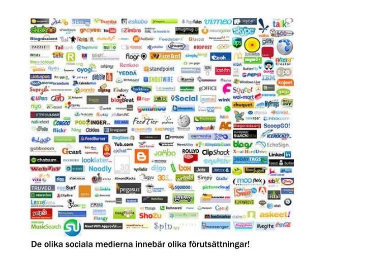 De olika sociala medierna innebär olika förutsättningar!