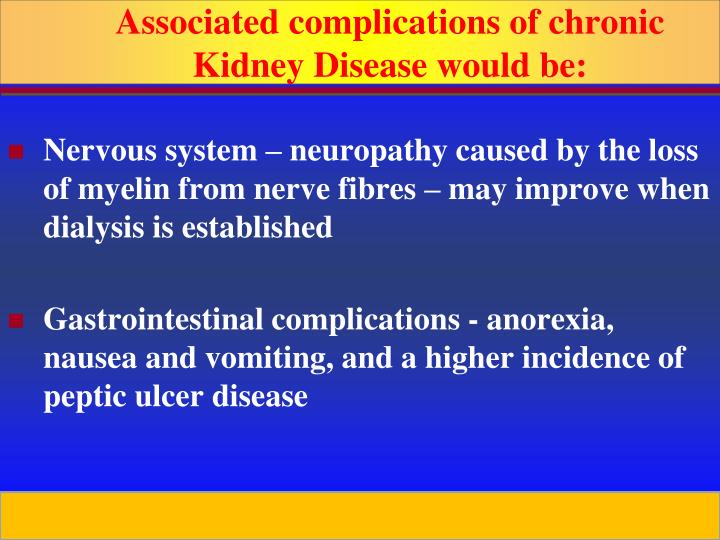 Associated complications of chronic Kidney Disease would be: