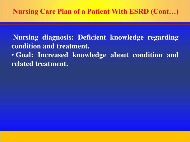 Nursing Care Plan of a Patient With ESRD (Cont…)