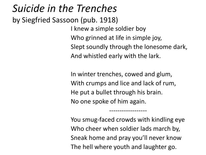 an analysis of the poem suicide in the trenches by siegfried sassoon