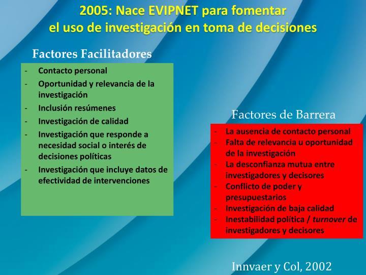 2005: Nace EVIPNET para fomentar
