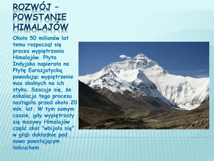 Około 50 milionów lat temu rozpoczął się proces wypiętrzania Himalajów. Płyta Indyjska napierała na Płytę Eurazjatycką powodując wypiętrzenie mas skalnych na ich styku. Szacuje się, że eskalacja tego procesu nastąpiła przed około 20