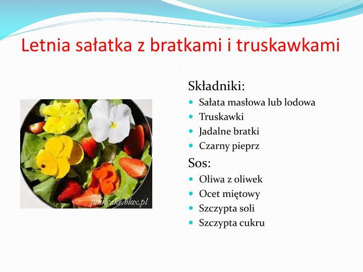 Letnia sałatka z bratkami i truskawkami
