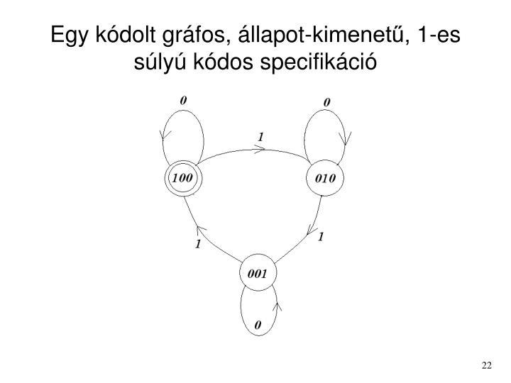 Egy kódolt gráfos, állapot-kimenetű, 1-es súlyú kódos specifikáció