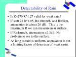 detectability of rain