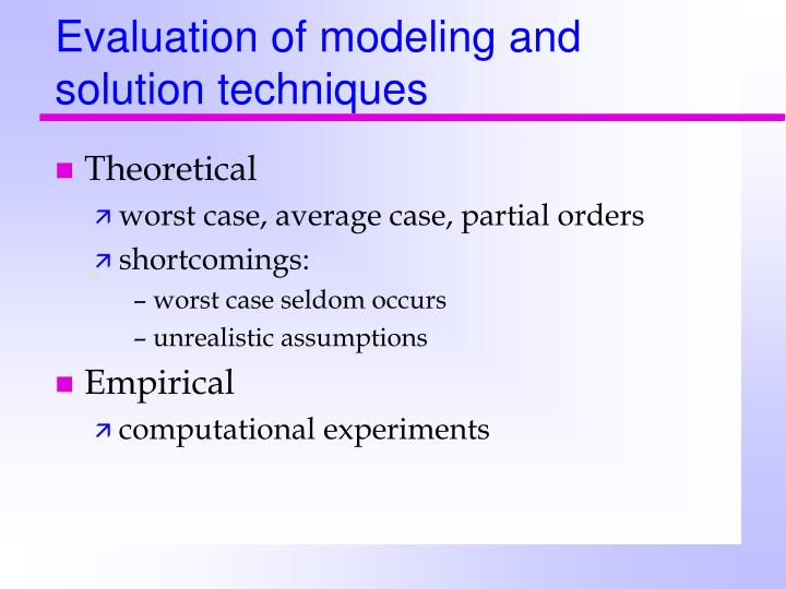 Evaluation of modeling and solution techniques