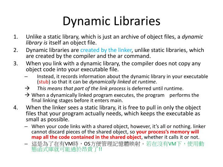 Dynamic libraries
