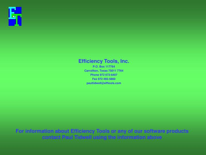 Efficiency Tools, Inc.