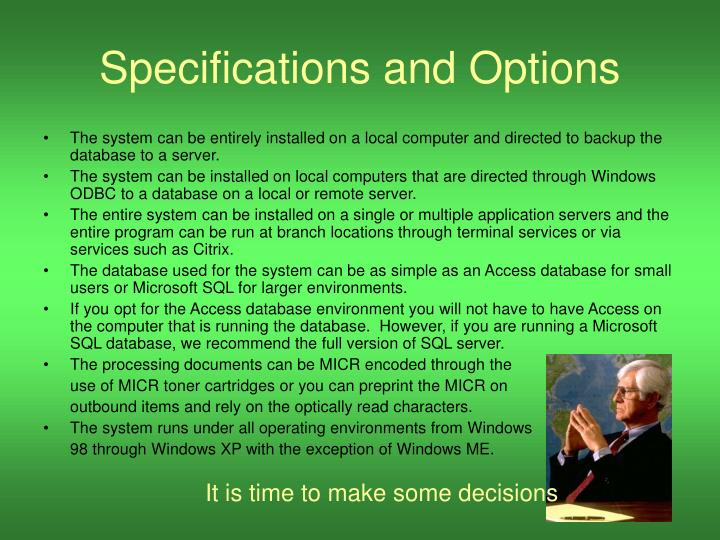 Specifications and Options