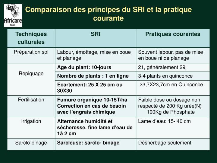 Comparaison des principes du SRI et la pratique courante