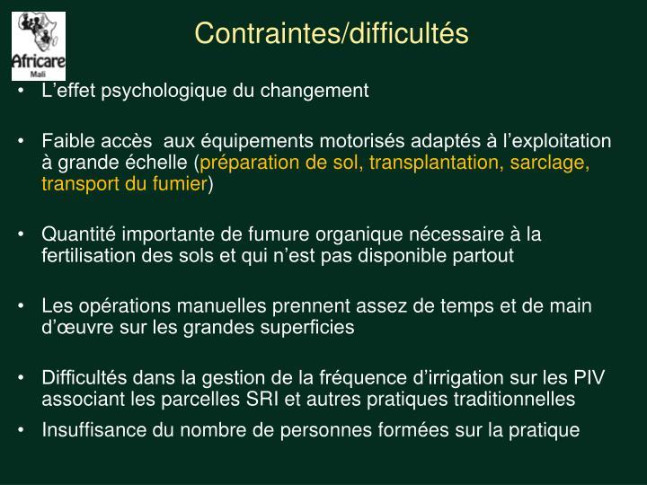 Contraintes/difficultés