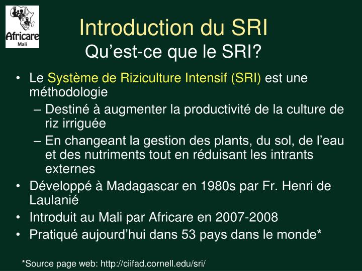Introduction du SRI