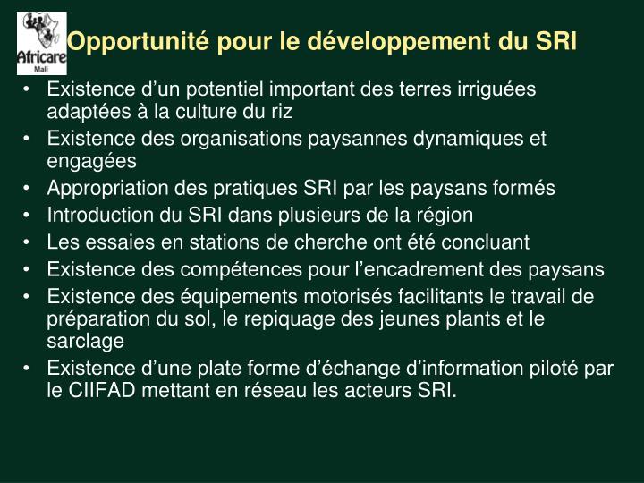 Opportunité pour le développement du SRI