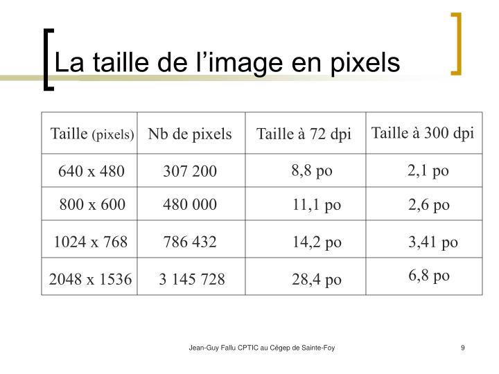 La taille de l'image en pixels