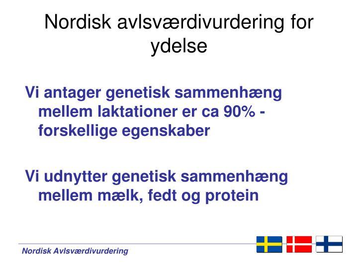 Nordisk avlsværdivurdering for ydelse