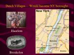 dutch villages would become ny boroughs