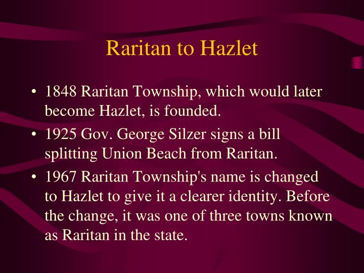 Raritan to Hazlet
