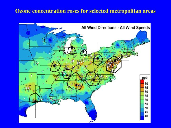 Ozone concentration roses for selected metropolitan areas