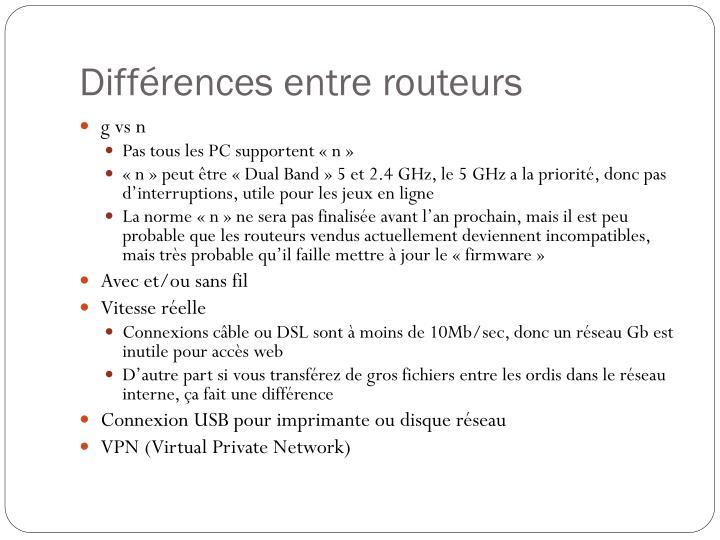 Différences entre routeurs