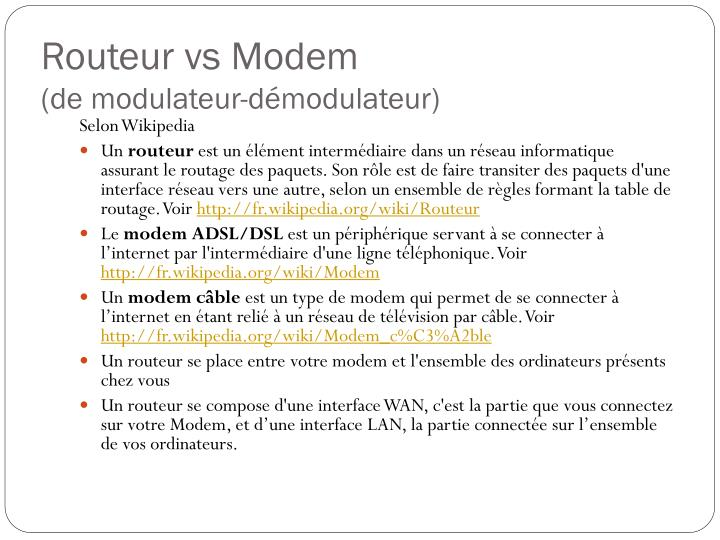 Routeur vs Modem