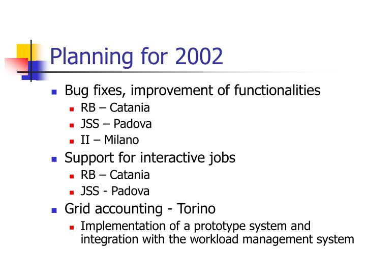 Planning for 2002