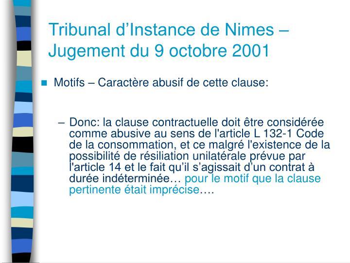 Tribunal d'Instance de Nimes – Jugement du 9 octobre 2001