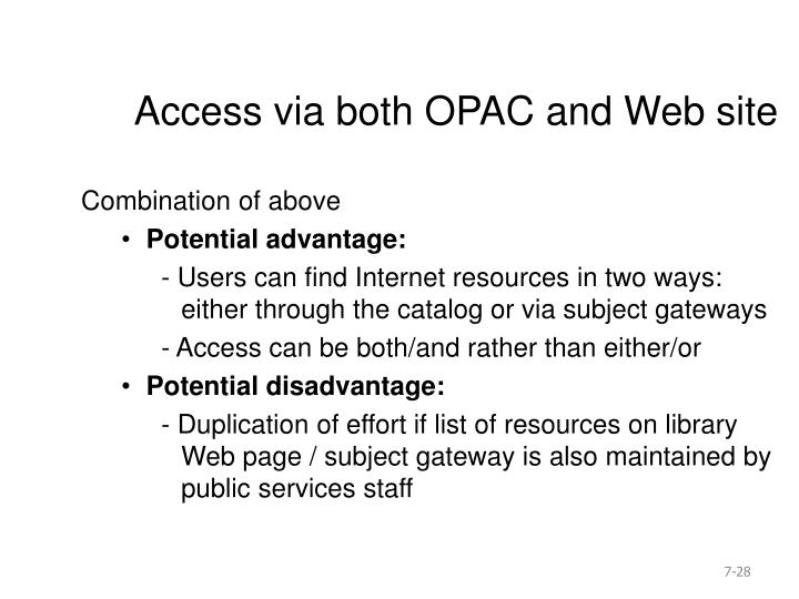Access via both OPAC and Web site