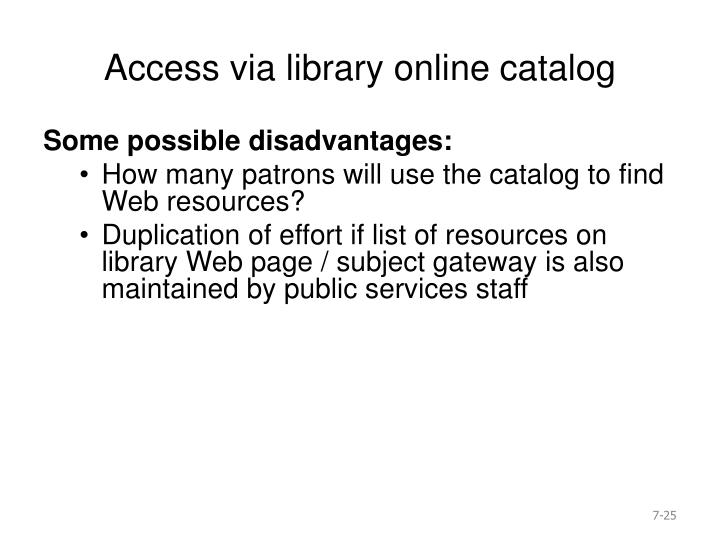 Access via library online catalog