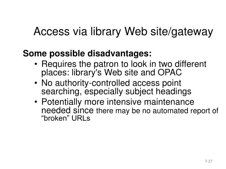 Access via library Web site/gateway