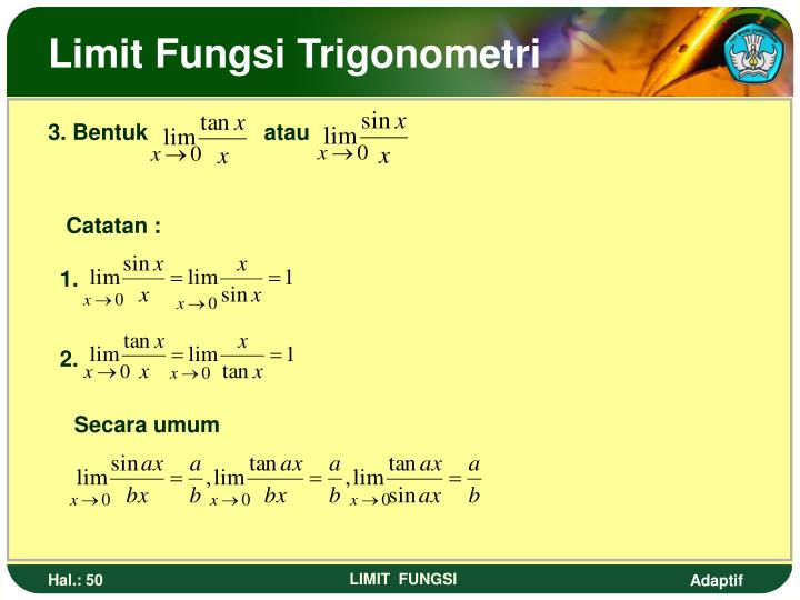 Limit Fungsi Trigonometri