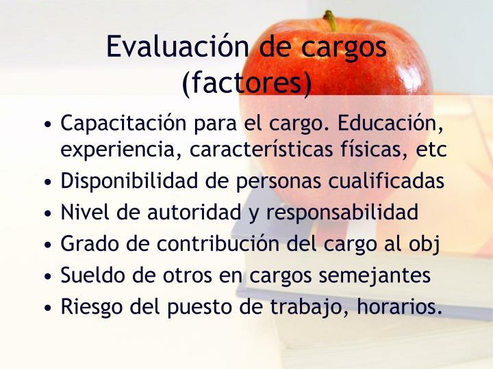 Evaluación de cargos (factores)
