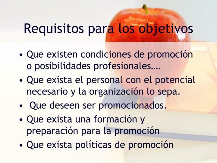 Requisitos para los objetivos