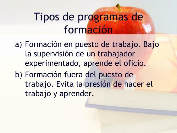 Tipos de programas de formación