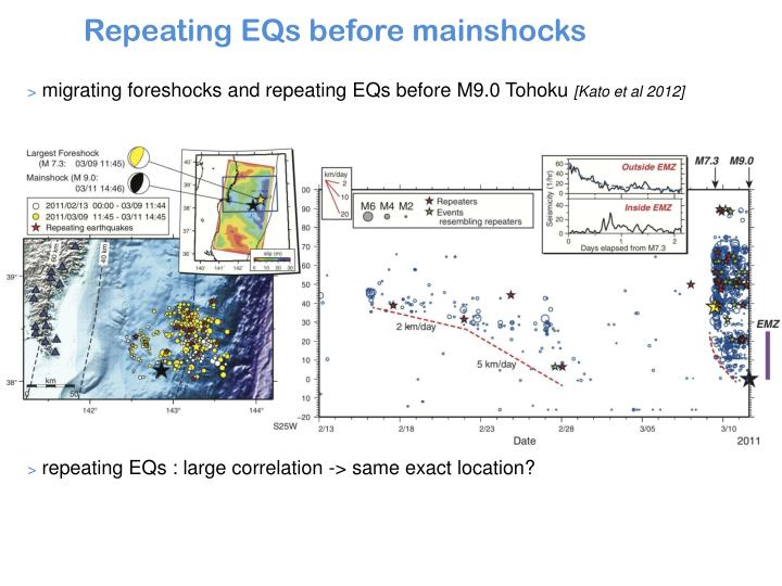 migrating foreshocks and repeating E