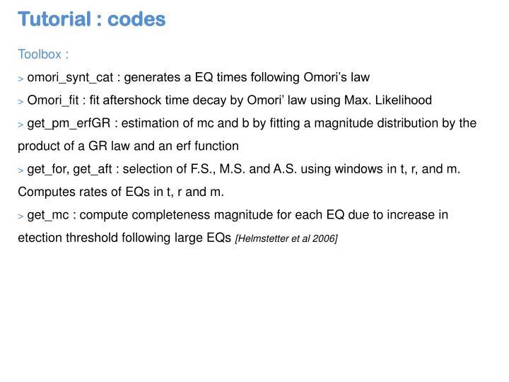 Tutorial : codes