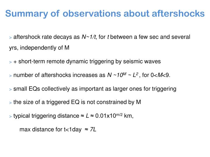 Summary of observations about aftershocks