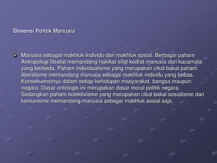 Dimensi Politik Manusia