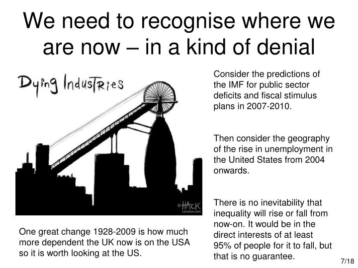 We need to recognise where we are now – in a kind of denial