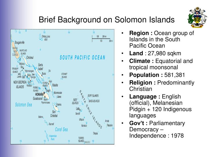 Brief background on solomon islands