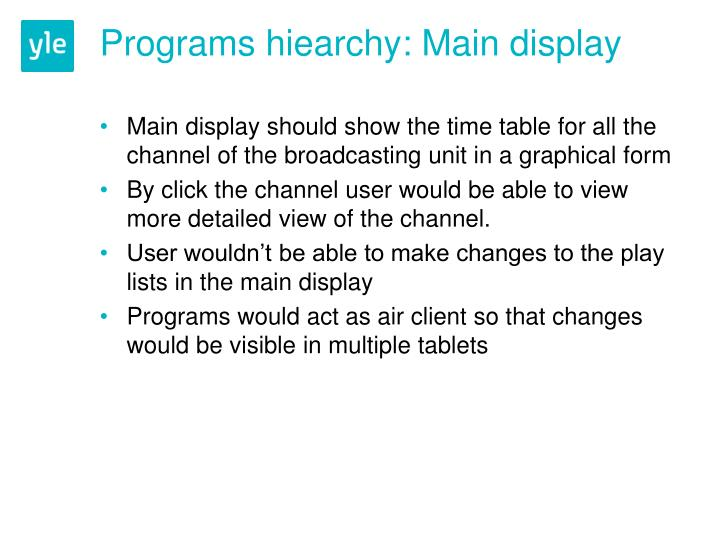 Programs hiearchy main display