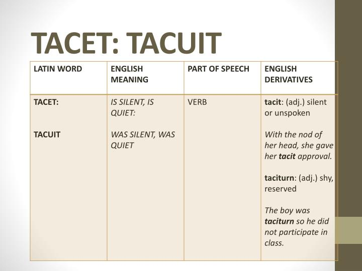 TACET: TACUIT