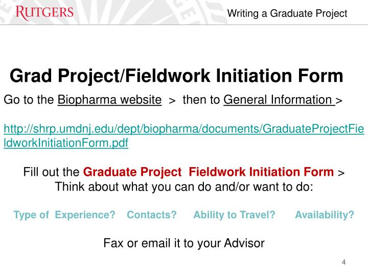 Grad Project/Fieldwork Initiation Form
